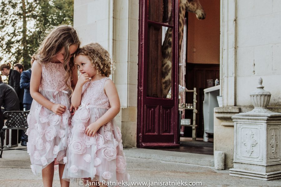 two little girls at a wedding
