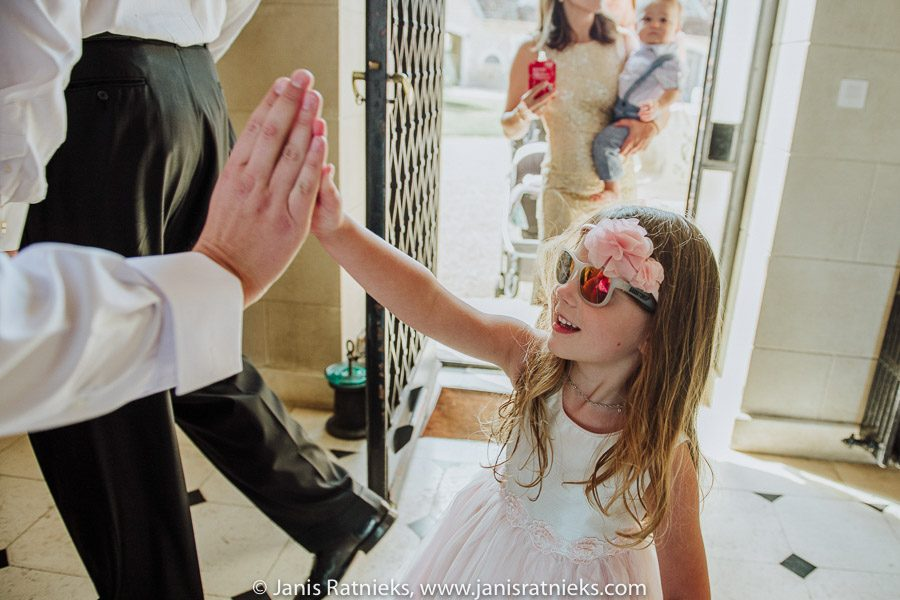flower girl arrives