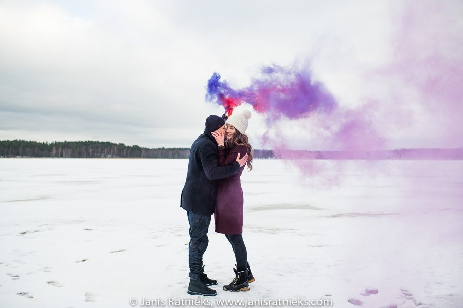 frozen lake engagement photographer