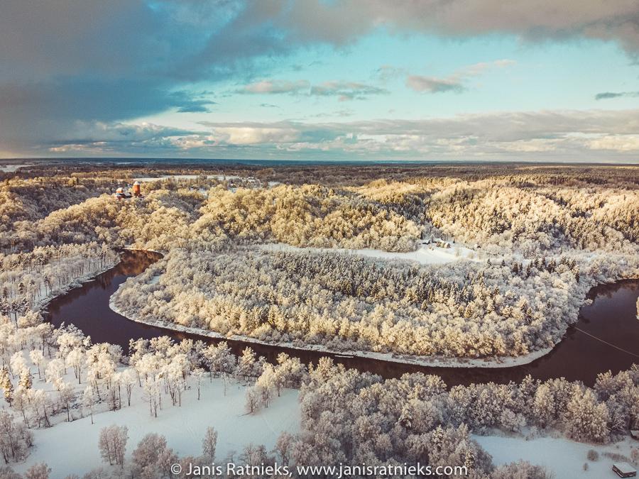 drone shot winter
