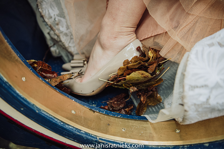 Autumn leaves stuck on brides heel