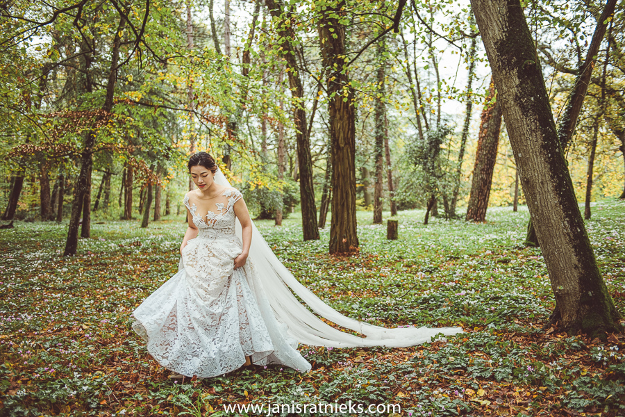 Bride in a forest full of flowers