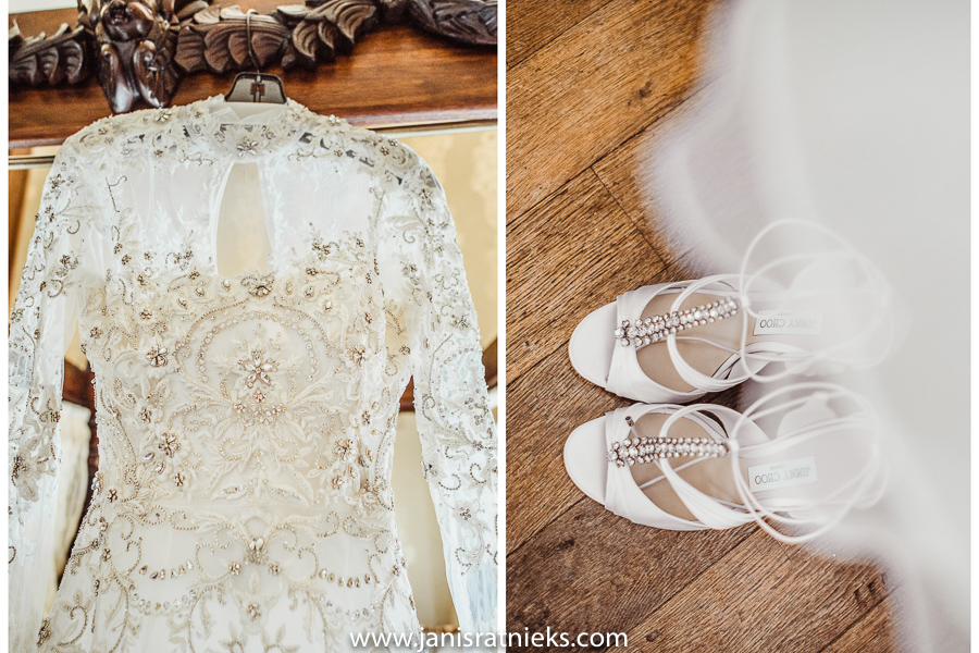 Jimmy Choo bridal shoes and romantic lace dress