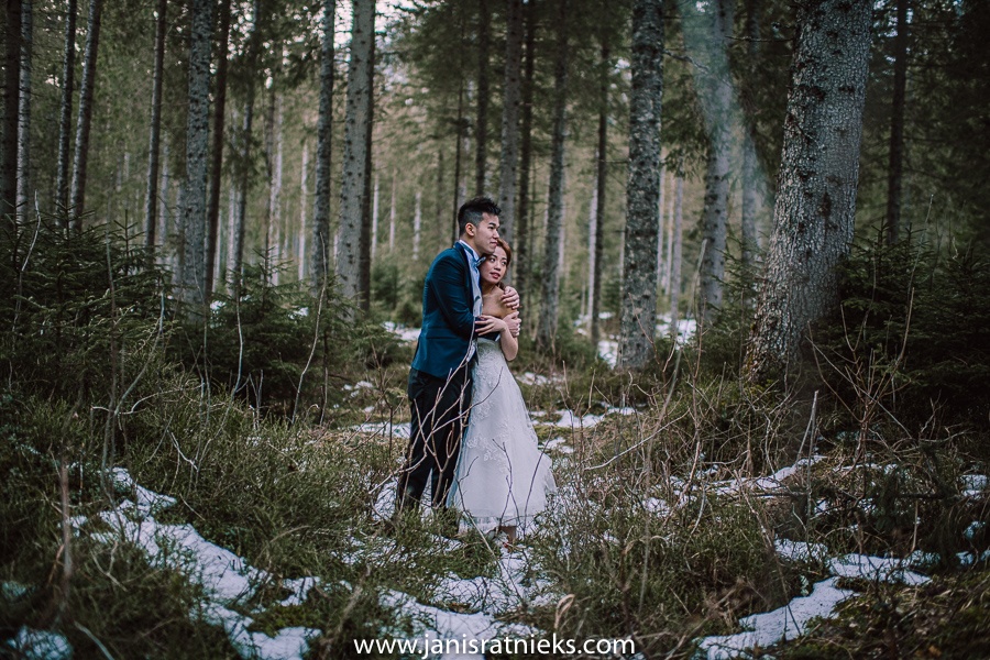 winter forest pre wedding