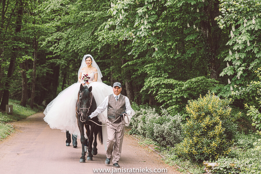 bride on a white horse