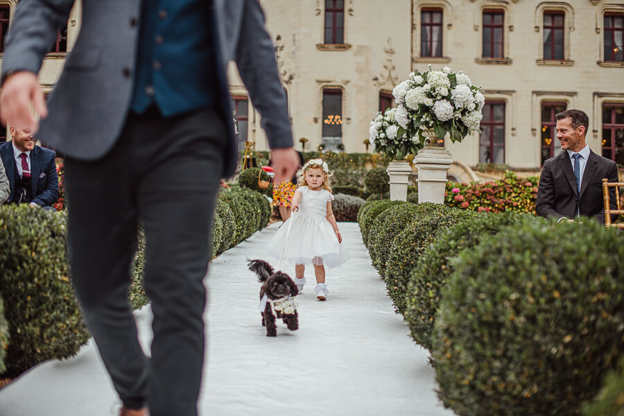 flower girl with a dog photography