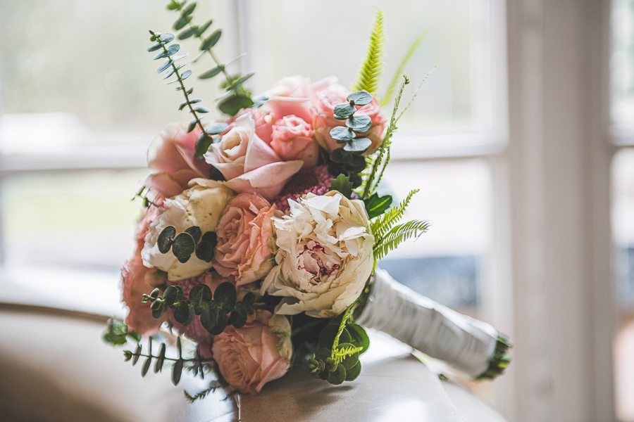 All shades of pink roses wedding bouquet