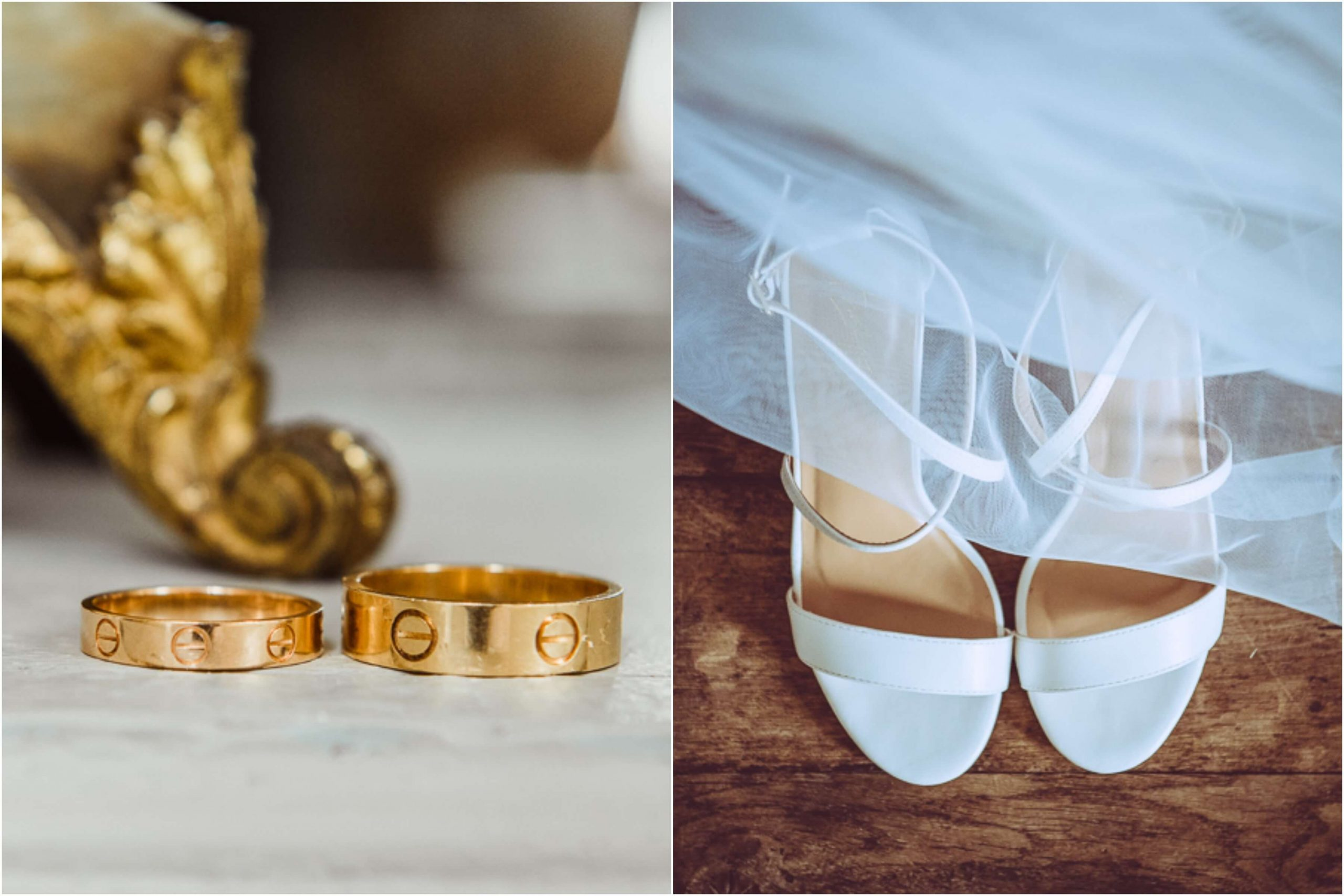 wedding rings and shoes photography