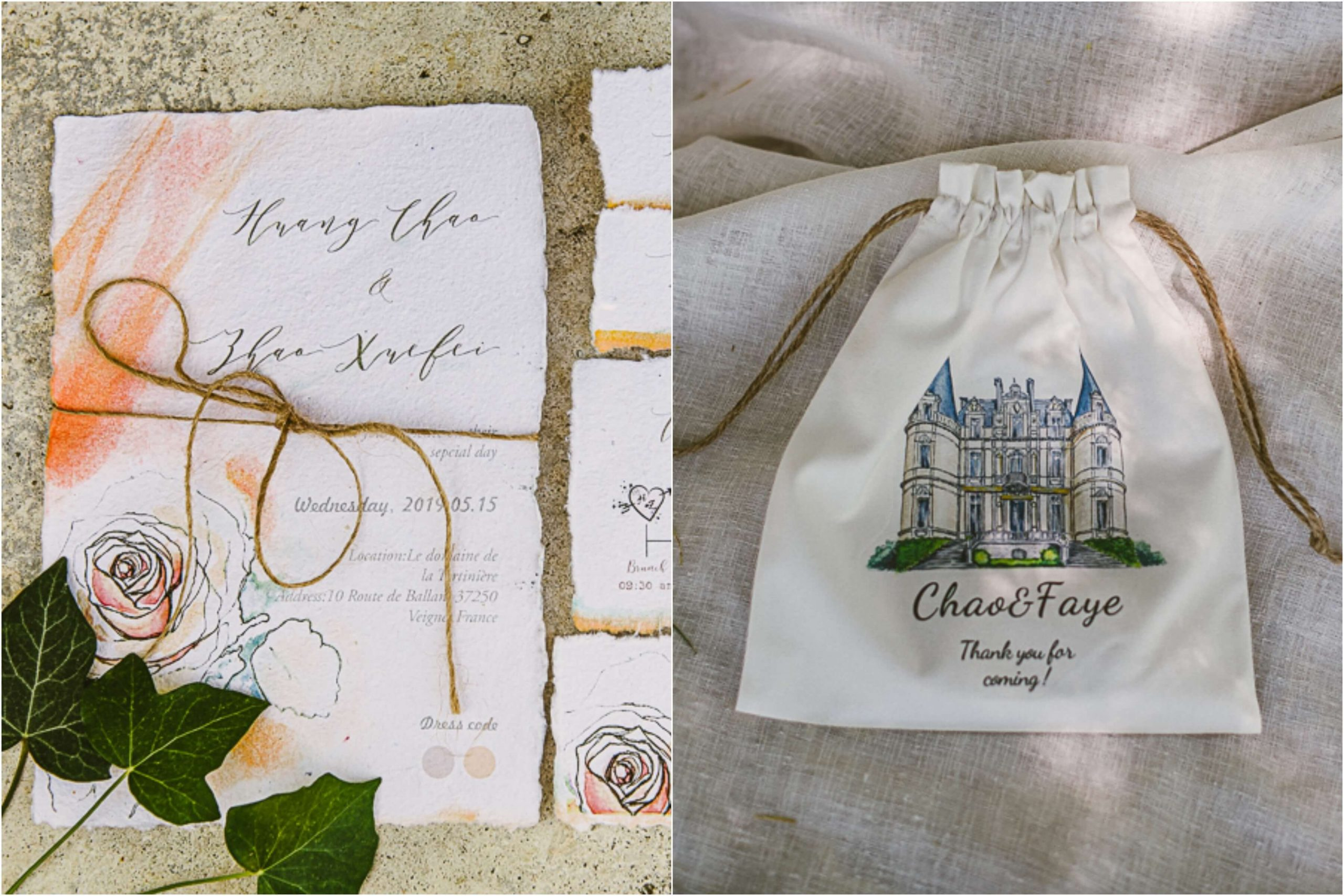 wedding invitations and thank you gift